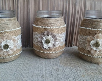 Rustic Wedding Jar, Rustic Mason Jar, Rustic Wedding, Burlap and Lace Mason Jar, Barn Wedding Jar, Barn Wedding