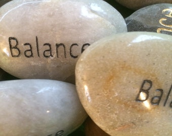 Engraved Stones / River Rocks with Inspirational Words - Gifts or Paper Weights - Balance