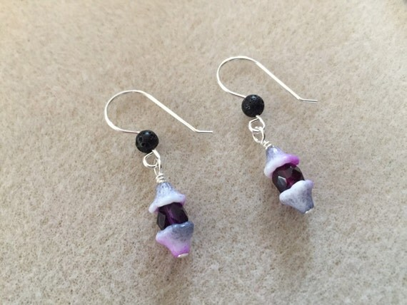 Lava Diffuser Earrings with Purple Czech Glass Stones and Flower Caps with Sterling Silver Ear Wires and Lava Stones for Essential Oils
