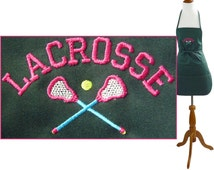 """Girls Lacrosse Apron 24"""" or 30""""  Monogram Custom Embroidered Concession Stand Team Mom"""