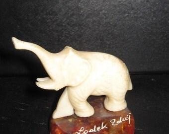 "Small POLISH  Poland elephant Ivory figurine 2"" tall"