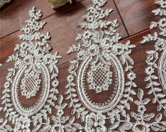 Pieces embroidered lace patch venice lace applique floral motif