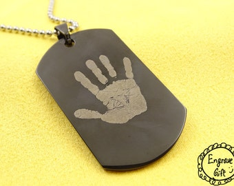 Personalized Customized Baby HandPrint FootPrint  Engrave Gift, Name Necklace Keychain, anniversary gift, actual handwriting Gift