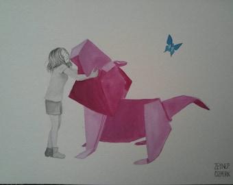 Best Friends- watercolor and gouache on watercolor paper- original art