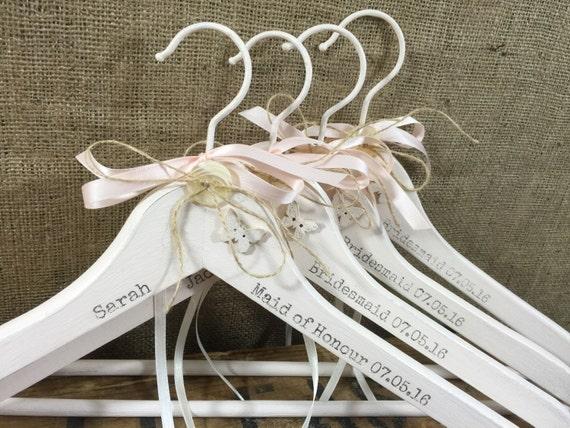 4 Custom Printed Pretty Bridesmaids Hangers / Personalised Wedding Hangers / Custom Painted Decorative Hangers / Set of Bridal Hangers