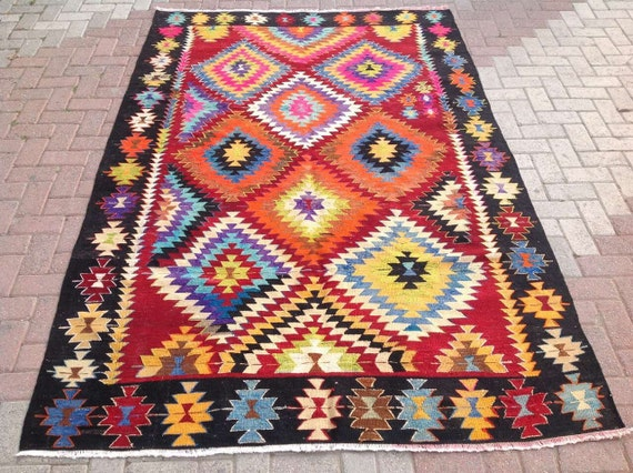 multi colored area rug kilim rug vintage turkish rug rugs. Black Bedroom Furniture Sets. Home Design Ideas