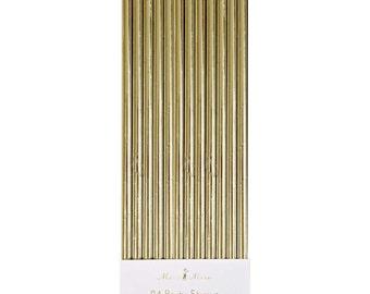 Gold foil Paper Straws - set of 24.   Gold paper party straws by Meri Meri.  Metallic straws.  Shiny gold straws.  Gold birthday straws.