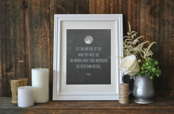 Rumi Quote Print, Let the watters settle, Printable Word Art, Chalkboard Quote, Meditation Quote, Digital Download