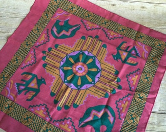Vintage Western Bandana -  Handkerchief - Scarf Streetwear - Hipster - Purple - Made In USA - Tribal