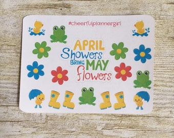 April Showers Bring May Flowers Small Sampler Planner Stickers Set