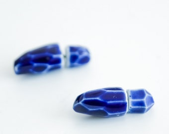 Blue earrings, double pearl earrings, tribal earrings, blue stud earrings, mens earrings, faux gauge earrings, unisex earrings, stud earings