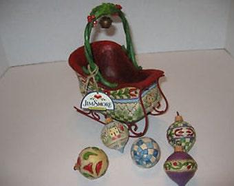 Jim Shore Sleigh w/Ornaments in OB