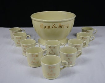 Vintage Tom and Jerry Punch Bowl and Cups