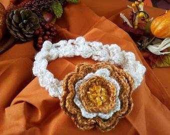 Fall Beaded Flower Crochet Headband