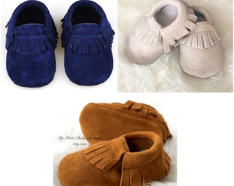 Genuine Suede Leather Baby Moccasins, Baby Boy Moccasins, 100% Leather Moccasins, Suede Moccasins, Blue Moccasins, Camel Moccasins
