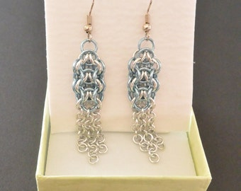 Icy Blue and Silver Elfweave Chainmail Earrings