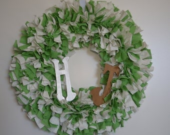 Couples Rag Wreath w/ 2 Letters