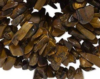 "Tiger's Eye Small Gemstone Chips (35"" Strand)"