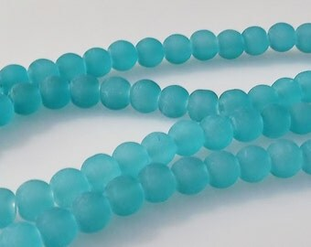"Frosted Turquoise 8mm Round Glass Beads (30"" Strand)"
