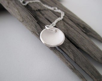 Handmade Simple Dimple Round Pendant - Handmade in Fine Silver, Small Circular Necklace, Simple Round Fine Silver Pendant