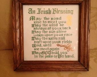 vintage, irish Blessing, framed art/tile...circa 1970's