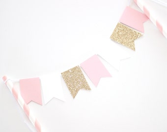 Bunting Cake Topper - Gold Glitter, Pink and White Birthday Party