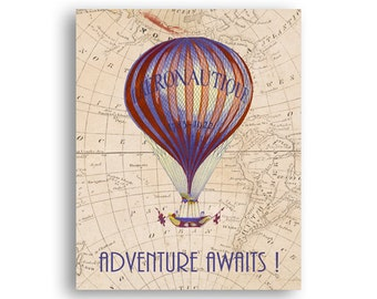Adventure awaits, Hot Air balloon print, Gift for traveler, Vintage Aviation travel decor, Aeronautic Collage, Digital file Instant download