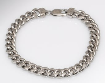 Sterling Silver Chunky Chain Link Bracelet - 8 3/4 Inches Long