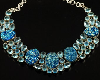 Awesome Titanium Druzy & Blue Topaz Handmade Premium 925 Silver Necklace 102 Grams