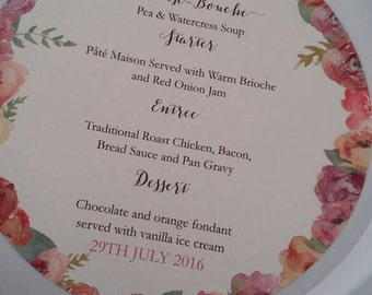 Floral wedding charger plate menu, round menu, table menu place setting personalised with guests names