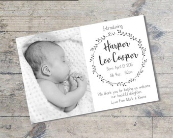 Simple Wreath Monochrome BABY ANNOUNCEMENT Card DIY Printable  Baby Thank You Card