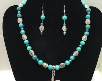 Starfish Swarovski crystals BluePearl Choker Jewelry Set
