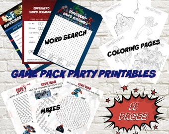 Instant Download Captain America-Civil War Game Pack Party Printables, civil war coloring pages, civil war party favors AD3343