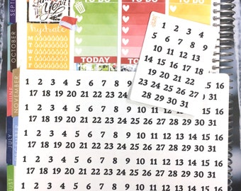 Monthly Day Numbers Planner Stickers - for Erin Condren Happy Planner