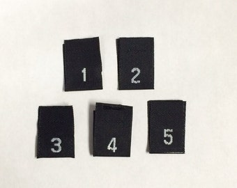 500 CLOTHING Taffeta Black Woven Size Labels Tabs Tags (100 1, 2, 3, 4, 5)