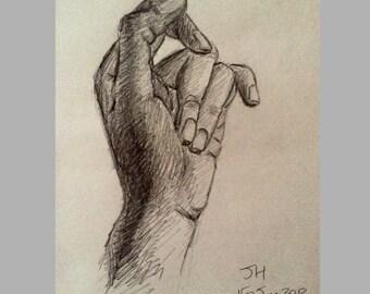 Knock knock - pencil drawing