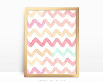 SALE -  Pastel Chevron, Pastel Colors, Baby Nursery, Baby Girl Nursery, Coral Pink Orange Teal Cyan, Zig Zag Pattern, Watercolor