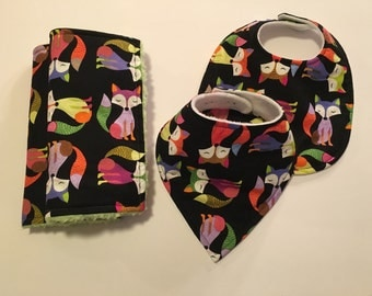 SALE!! Multicolored Fox, Burp Cloths & Bibs Set