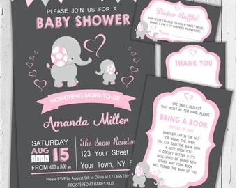 Elephant Baby Shower Invitation / Girl Baby Shower Invitation / Printable Invitation