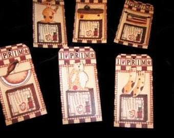 SIX Primitive Summertime Collectibles Hang tags / Gift tags