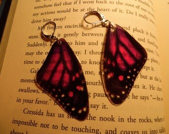 Magenta (or Purple) Butterfly Top Wing Earrings (Faux High Quality/Suncatcher Quality)