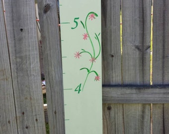 """LIGHT GREEN w/VINE Handpainted Wood Growth Chart- Measures up to 6'3"""""""