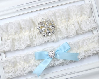 Ivory Lace Wedding Garter Set, Bridal Garter, Toss Garter, Blue Wedding Garter, Diamond Garter, Ivory Garter, Garter Set, Blue Garter