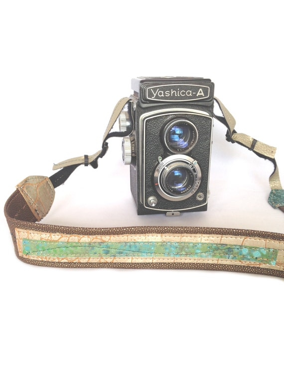 Adjustable Brown and Green Long Camera Strap with Hand Painted Fabric One-of-a-kind