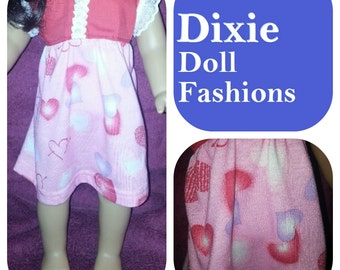 "Dixie-crafted Valentine Hearts Dress is designed to fit 18"" Dolls including those from the American Girl Company"