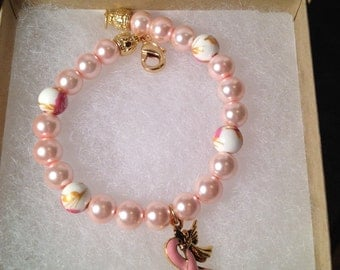 Breast Cancer Awareness Bracelet with Pink Ribbon with Angel
