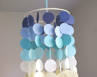 Circle Crib Mobile: Blue, White and Yellow Ombre. Photo prop, Baby shower, Baby nursery, Birthday, Decor.