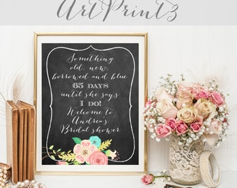 Chalkboard Bridal Shower Sign, Floral Bridal Shower Sign Printable, Bridal Shower Countdown Sign Printable, Something Old New Borrowed Blue