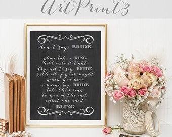 Don't Say Bride Game Printable, Take a Ring Game Printable, Bridal Shower Game, Chalkboard Bridal Shower Fun Activity,Bridal Printable Game