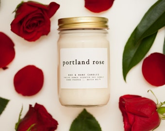 Portland Rose Soy Candle - 12 oz Rose Candle Oregon - floral candle - large candle - rose scented candle